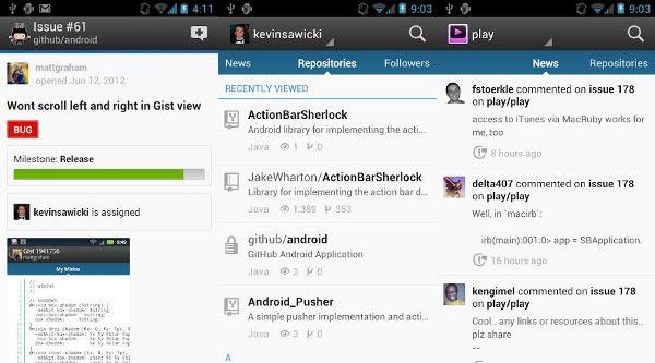 Capturas de pantalla de la aplicación oficial de GitHub