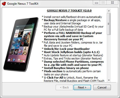 Google Nexus 7 Toolkit: Root, unroot, copias de seguridad y más