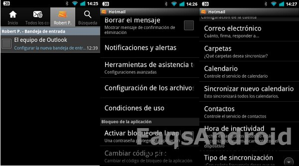 Outlook desde Android