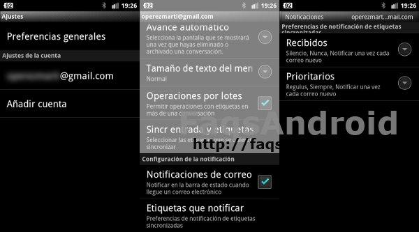 Configuración de tonos de gmail
