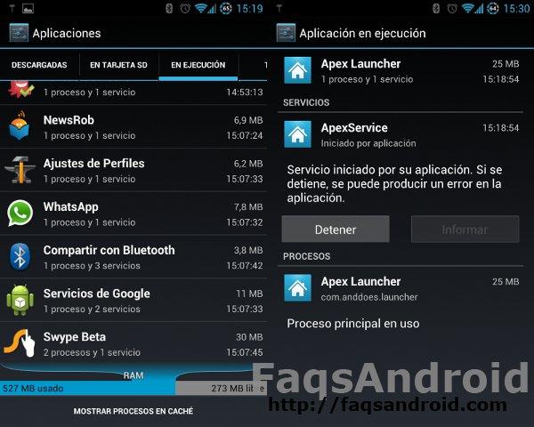 Captura de pantalla de apps en ejecución