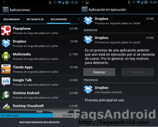 Captura de pantalla de apps en cache