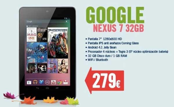 Google Nexus 7 32 GB comprar precio 279 euros