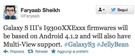 Tweet Faryaab Sheikh Multiventana en Galaxy S3