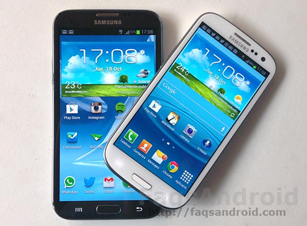 Comparativa entre el Samsung Galaxy S3 vs Samsung Galaxy Note 2