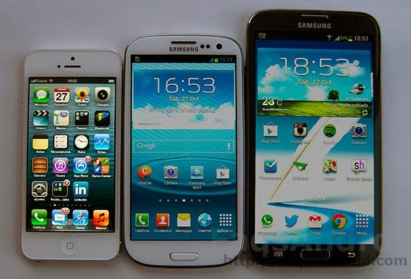 Samsung Galaxy Note 2 vs Samsung Galaxy S3 vs iPhone 5