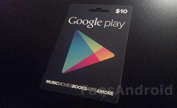tarjetas regalo de Google Play Store