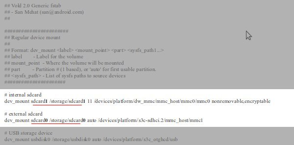Contenido (modificado) del archivo vold.fstab de un Galaxy Note con ROM AOKP basada en Jelly Bean
