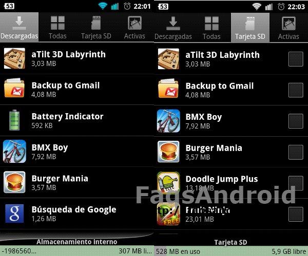 Captura de pantalla de las apps instaladas tras aplicar este método