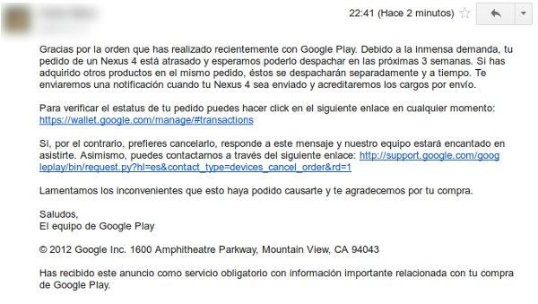 Email informativo de Google