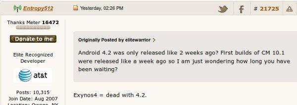 Captura de uno de los mensajes de Entropy512 sobre el tema