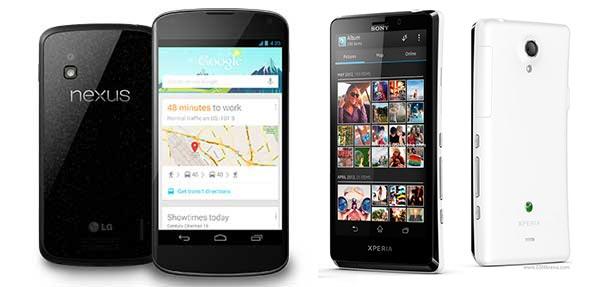 LG Nexus 4 y el Sony Xperia T