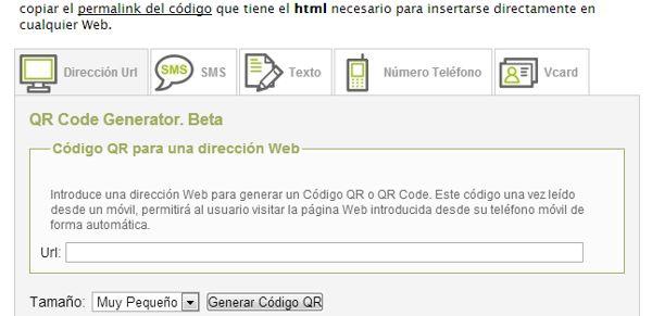 Generar código QR web