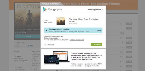 ¿Cómo compro música en Google Music?