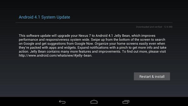 Captura de pantalla de un dispositivo a punto de ser actualizado
