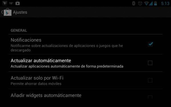 Pantalla de configuración de la tienda de Google, que permite la actualización automática de apps