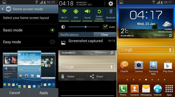 Capturas de Pantalla de Jelly Bean en el Samsung Galaxy SII