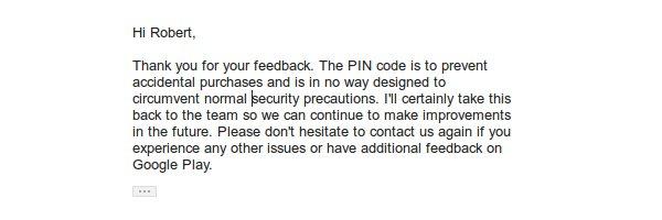 Captura de pantalla de un email de respuesta de Google sobre el tema