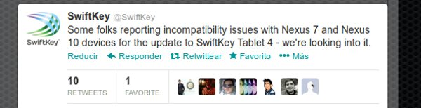 Tweet respecto a la incompatibilidad de SwiftKey con las tabletas de Google