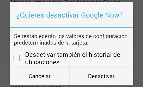 Desactivando Google Now