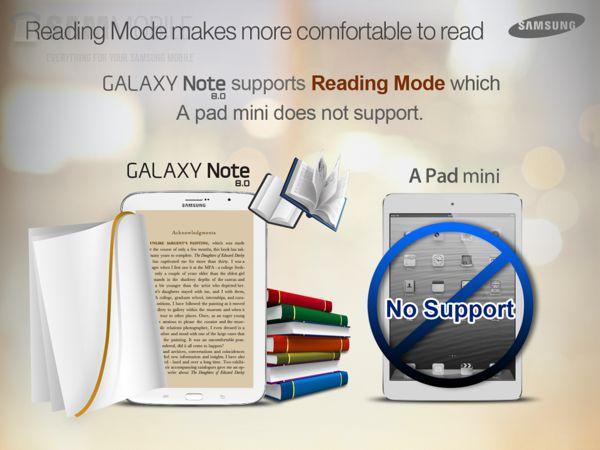 Modo de lectura Samsung Galaxy Note 8 iPad mini