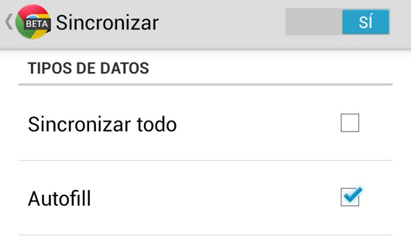 Sincronizar autocompletado Chrome Beta