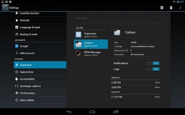 Captura de pantalla de la integración de Superuser en CyanogenMOD