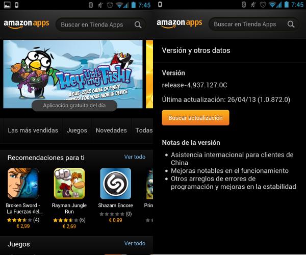 Captura de la tienda de aplicaciones de Amazon