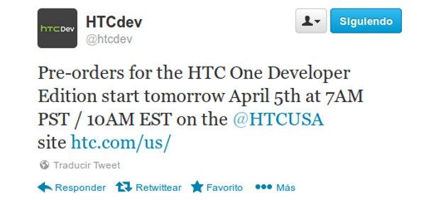 Tweet de HTC informando sobre el tema