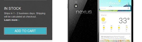 Página de la tienda de Google con el precio del Nexus 4