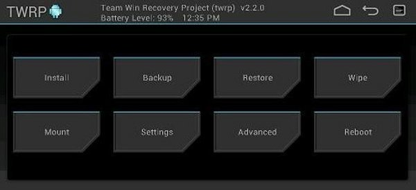 Captura del recovery TWRP