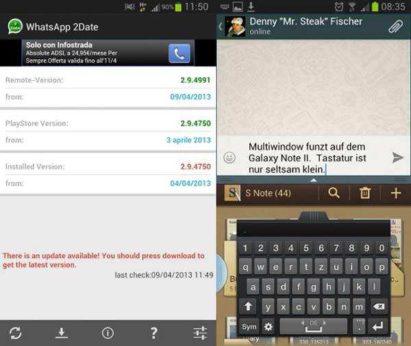La próxima versión de Whatsapp soportará la multiventana de Samsung