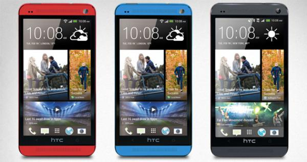 HTC One en rojo y azul