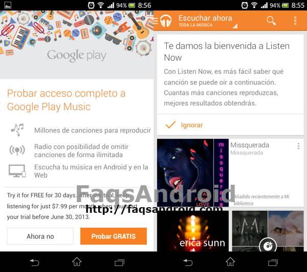 Prueba web Google Music All Access versión móvil