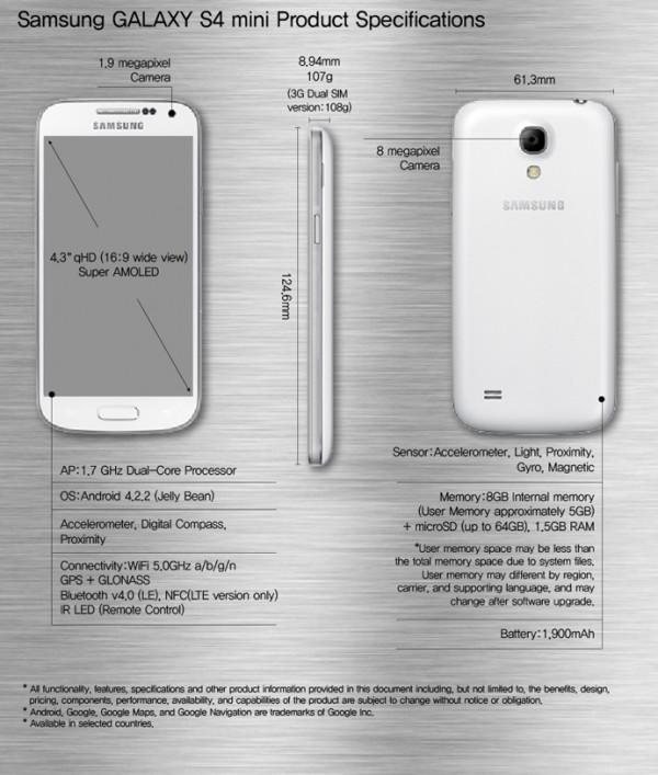 Samsung Galaxy S4 especificaciones