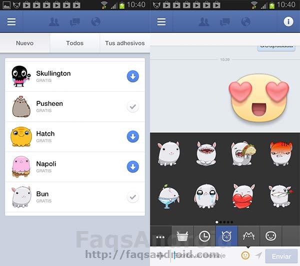 Facebook ya tiene stickers o pegatinas en su Aplicación Android