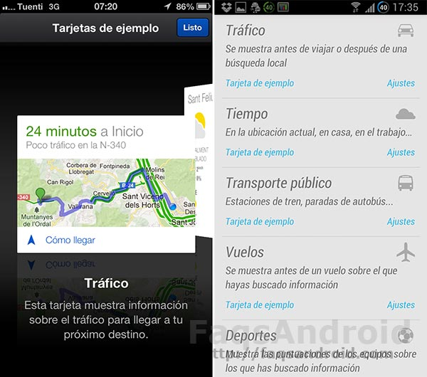 Comparativa entre Google Now para iPhone vs Google Now para Android