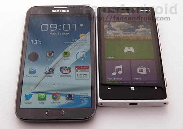 Comparativa entre el Samsung Galaxy Note 2 y el Nokia Lumia 920