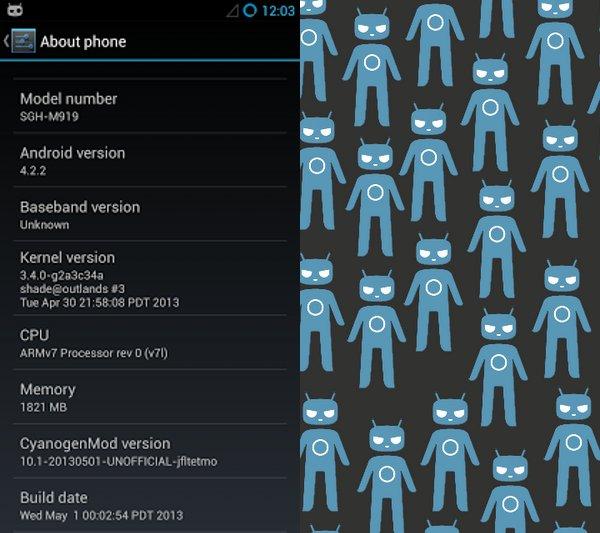 Catura de CM10.1 ejecutándose en un Galaxy S4
