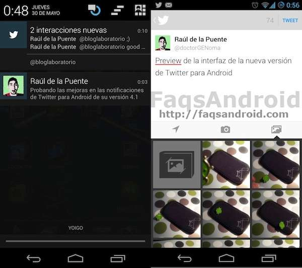 Las nuevas mejoras de la versión 4.1 de Twitter para Android