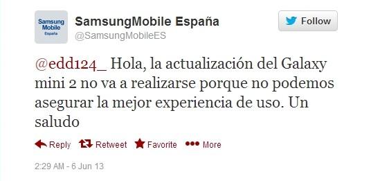 Samsung Galaxy Mini 2 tweet Samsung España