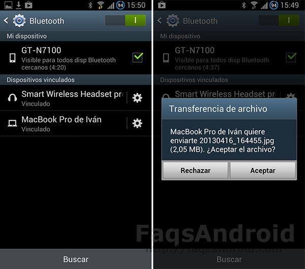 Transferir archivos por Bluetooth