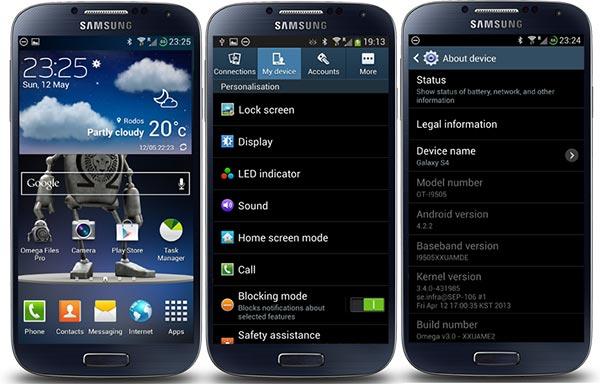 Cinco ROMs recomendadas para el Samsung Galaxy S4: Omega