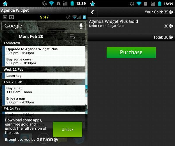 Mecanismo de validación de una app comprada mediante créditos de Getjar