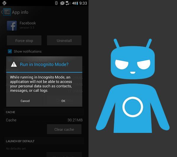 CyanogenMod: Ejecución en modo incógnito