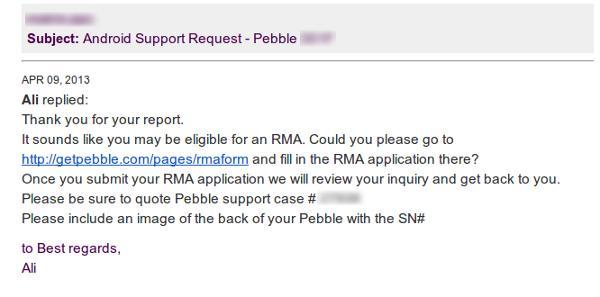 Mensaje indicativo de que el Pebble puede ser sustituido en garantía
