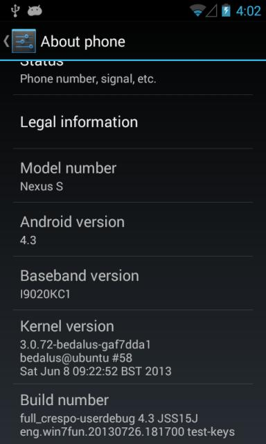 Android 4.3 en el Google Nexus S