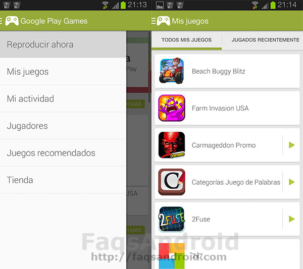 Aplicación de Google Play Games: Menú
