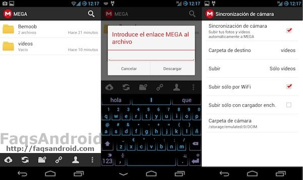 Capturas de la nueva aplicación de MEGA para Android