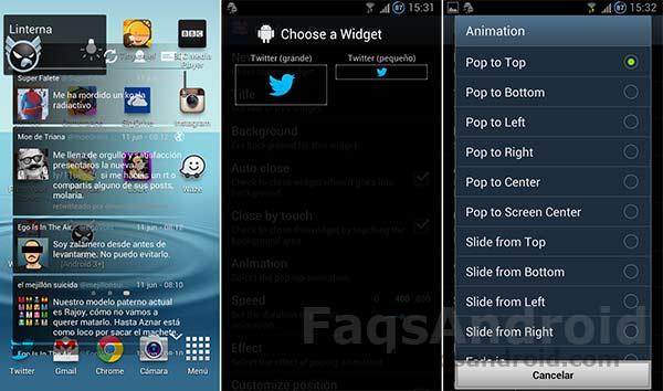 Popup Widget, crea accesos directos de tus widgets